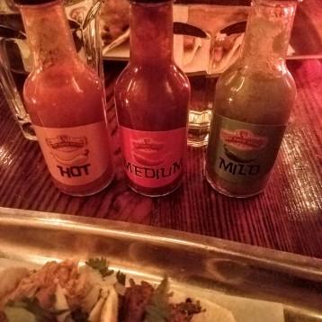 Hot, medium and mild sauces