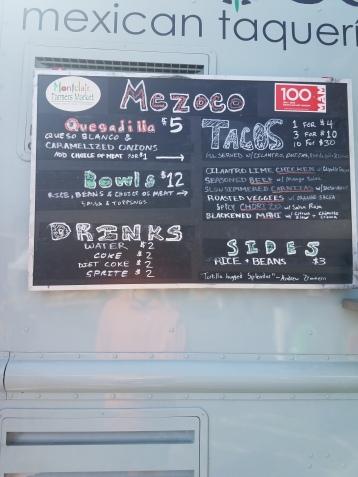 The menu at Mezoco Taco Truck