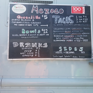 The menu at Mezoco Taco Truck