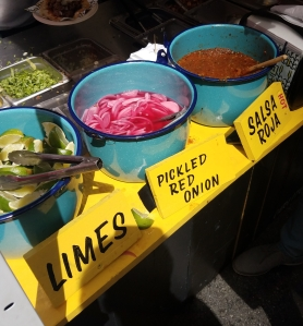 Condiment options at Carlito's Barbecue Taqueria