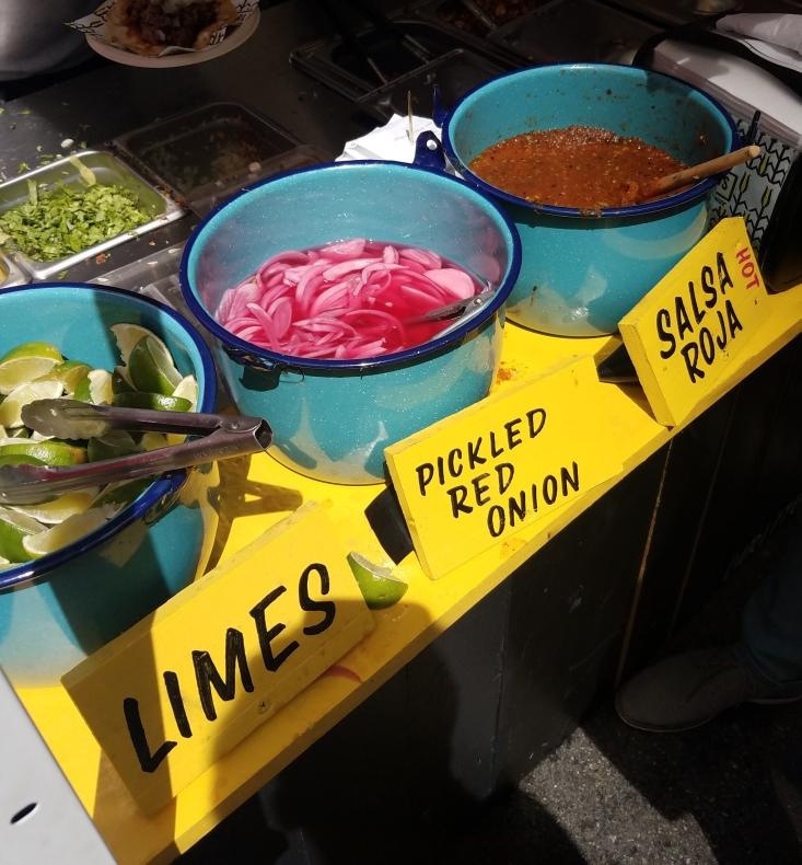 Condiment options at Carlito's Barbecue Taqueria
