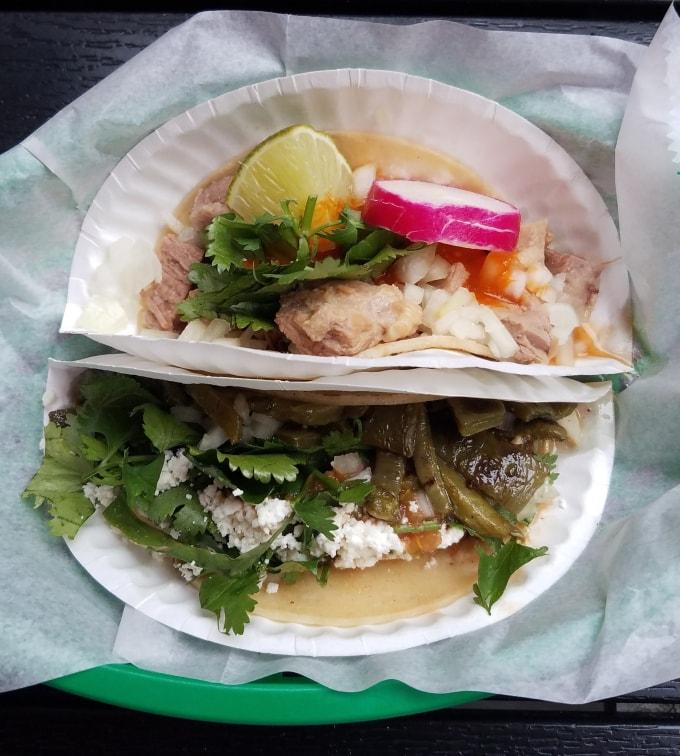 Suadero (top) and Cactus Tacos (below)