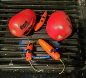 Fire roast tomatoes and Peppers